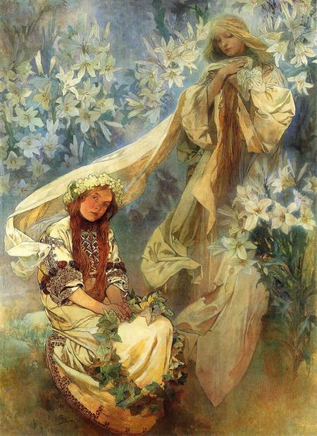 Alphonse Mucha: Madonna Of The Lillies