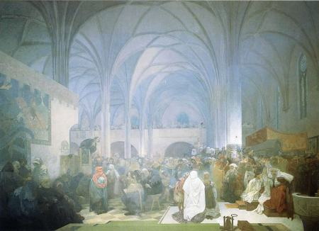 Master Jan Hus Preaching At the Bethlehem Chapel by Alphonse Mucha, 1916