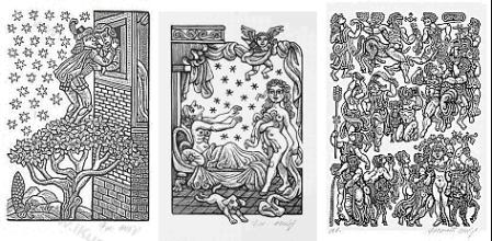 Collage of drevoryt woodcuts Dekameron, Ceský dekameron, Bakchanálie by Zdenek Mézl 1980
