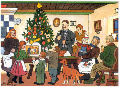 """...Josef Lada did far more than illustrate the Hasek's Good Soldier Svejk novel, and his idealized paintings of carol singers and family gatherings are, for many in this country, an enduring symbol of Czech Christmas."" http://www.radio.cz/en/section/curraffrs/josef-ladas-paintings-an-enduring-symbol-of-czech-christmas/pictures/obrazy/lada-josef/vanoce.jpg"