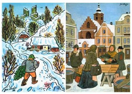 Josef Lada's idyllic take on Christmas activities in the countryside and in the city, that is to say, in Czechoslovak towns of his day. There, a fish meal on Christmas Eve was and still is one of the traditions, although the country is now two (and good friends). The fishy thing was apparently based on the belief that fish scales symbolize the prospect of money next year to the eater. Maybe some of us should not have turned our nose up about this fish thing… Then the capital for the Ovulona might not have been so slow in coming! Mea culpa, mea maxima culpa!