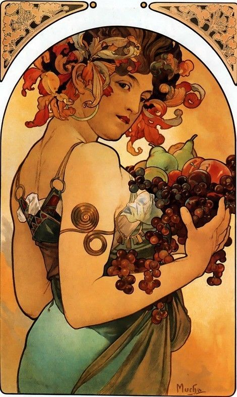 "Alfons Mucha ""Fruit"", Created December 31, 1896."