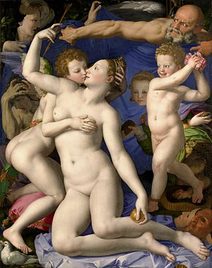 Venus, Cupid, Folly, and Time (also called An Allegory of Venus and Cupid and A Triumph of Venus) is an allegorical painting by the Florentine artist Agnolo Bronzino. It is now in the National Gallery, London. Artist     Agnolo Bronzino Year     circa 1545 Type     Oil on wood Dimensions     146 cm × 116 cm (57 in × 46 in) Location     National Gallery, London Its meaning, however, remains elusive. Cupid, along with his mother (Venus) and the nude putto, to the right, are all posed in a typical Mannerist figura serpentinata form. The two central figures are easily identified by their attributes as Venus and Cupid. For example, she holds the golden apple she won in the Judgement of Paris, while he sports the characteristic wings and quiver. Both figures are nude, illuminated in a radiant white light. Cupid fondles his mother's bare breast and kisses her lips. The bearded, bald figure to the upper right of the scene is believed to be Time, in view of the hourglass behind him.[2] He sweeps his arm forcefully out to his right. Again, it is difficult to interpret his gesture with any certainty The old woman rending her hair (see detail at right) has been called Jealousy—though some believe her to represent the ravaging effects of syphilis[2] (result of unwise intercourse).