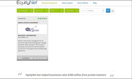 EquityNet bioZhena pitch page