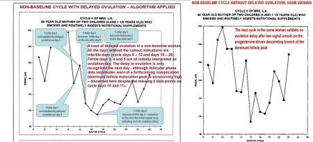 Non-baseline cycle w delayed ovulation- algor applied AND next cycle, no ovu delay - e1